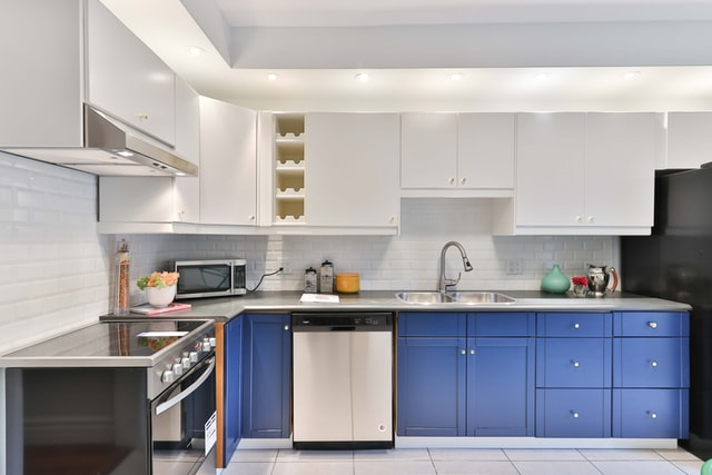 Modern kitchen with blue and white cupboards