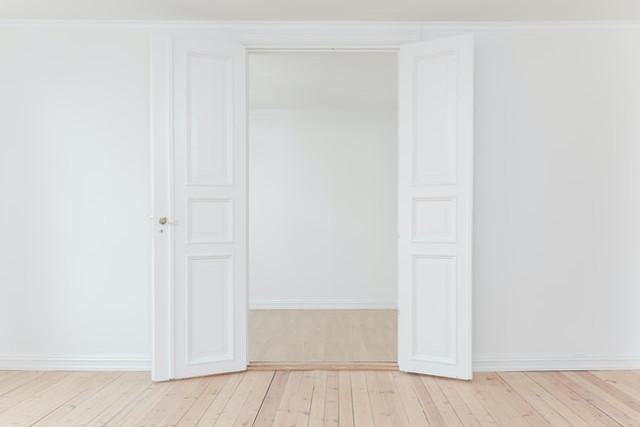 Interior white double doors